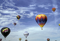 Hot Air Balloon Festival Albuquerque, New Mexico, Red, Blue, Yellow, inflated,