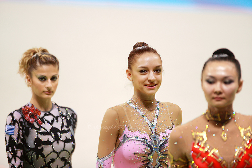 August 22, 2008; Beijing, China; Rhythmic gymnasts march-out after qualifying round at 2008 Beijing Olympics. (L-R) Eleni Andriola, Evgenia Kanaeva, Aliya Yussupova.