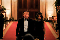 United States President Donald J. Trump arrives with first lady Melania Trump to address the Governors' Ball at the White House in Washington, U.S., on Sunday, Feb. 9, 2019. Trump was recently acquitted by the US Senate in the impeachment trial. <br /> Credit: Alex Wroblewski / Pool via CNP/AdMedia