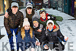 Playing in the snow in Killarney on Friday were front Aoife Guerin and Adam O'Connell, back l-r: Kristian Komosa, Evan smith, Caoimhím Boyne and Harry Potts