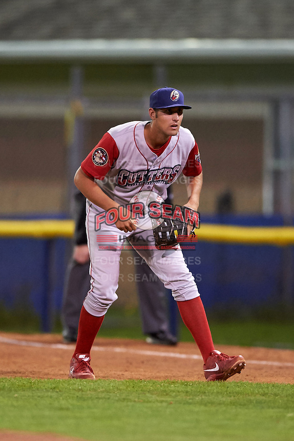 Williamsport Crosscutters first baseman Brendon Hayden (43) during a game against the Batavia Muckdogs on July 15, 2015 at Dwyer Stadium in Batavia, New York.  Williamsport defeated Batavia 6-5.  (Mike Janes/Four Seam Images)