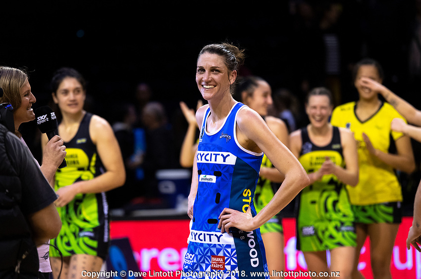Anna Harrison is interviewed after the ANZ Premiership netball match between the Central Pulse and Northern Mystics at TSB Bank Arena in Wellington, New Zealand on Wednesday, 1 August 2018. Photo: Dave Lintott / lintottphoto.co.nz