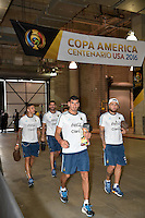 Houston, TX - Tuesday June 21, 2016: Argentina arriving prior to a Copa America Centenario semifinal match between United States (USA) and Argentina (ARG) at NRG Stadium.