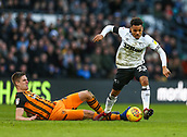 9th February 2019, Pride Park, Derby, England; EFL Championship football, Derby Country versus Hull City; Duane Holmes of Derby County skips past a challenge from Markus Henriksen of Hull City