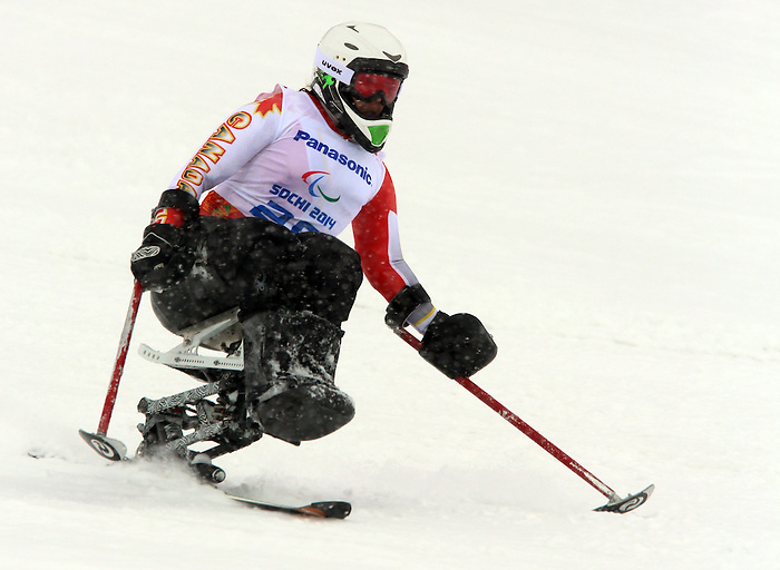 Sochi, Russia,12/03/2014. Canadian Kimberly Joines competes in the women's slalom sitting skiing at the Sochi 2014 Paralympic Winter Games in Sochi Russia.(Photo Scott Grant/Canadian Paralympic Committee)
