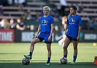 Seattle, WA - Saturday July 15, 2017: Megan Rapinoe, Katlyn Johnson during a regular season National Women's Soccer League (NWSL) match between the Seattle Reign FC and the Boston Breakers at Memorial Stadium.