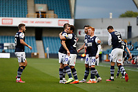 14th July 2020; The Den, Bermondsey, London, England; English Championship Football, Millwall Football Club versus Blackburn Rovers; Mason Bennett of Millwall celebrates with his team mates after scoring his sides 1st goal in the 24th minute to make it 1-0