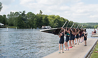 Henley. Berks, United Kingdom. <br /> <br /> &quot;Turning The Eight&quot; after lifting from the water. 2017 Henley' Women's Regatta. Rowing on, Henley Reach. River Thames. <br /> <br /> <br /> Saturday  17/06/2017<br /> <br /> <br /> [Mandatory Credit Peter SPURRIER/Intersport Images]