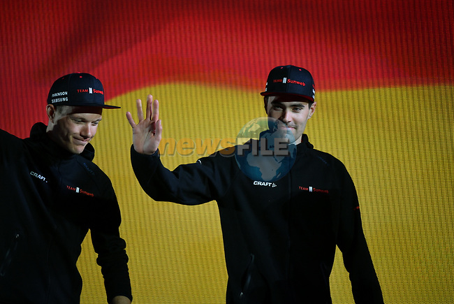 Tom Dumoulin (NED) Team Sunweb arrives on stage at the inaugural UAE Tour 2019 opening ceremony and team presentation held in the Louvre Abu Dhabi, United Arab Emirates. 23rd February 2019.<br /> Picture: LaPresse/Massimo Paolone  | Cyclefile<br /> <br /> <br /> All photos usage must carry mandatory copyright credit (© Cyclefile | LaPresse/Massimo Paolone)