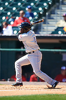 Louisville Bats designated hitter Irving Falu (4) at bat during a game against the Buffalo Bisons on May 2, 2015 at Coca-Cola Field in Buffalo, New York.  Louisville defeated Buffalo 5-2.  (Mike Janes/Four Seam Images)