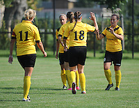 20160827 - ZWEVEZELE , BELGIUM : Zwevezele's Celien Vandekerckhove (R) celebrates her opening goal with her team mates  during the soccer match  in the 2nd round of the  Belgian cup 2017 , a soccer women game between SK Voorwaarts Zwevezele and RC Genk Ladies  , in Zwevezele , saturday 27 th August 2016 . PHOTO SPORTPIX.BE / DIRK VUYLSTEKE