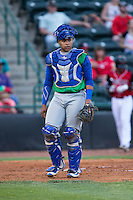 Lexington Legends catcher Xavier Fernandez (34) on defense against the Hickory Crawdads at L.P. Frans Stadium on April 29, 2016 in Hickory, North Carolina.  The Crawdads defeated the Legends 6-2.  (Brian Westerholt/Four Seam Images)