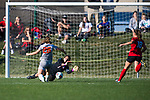 KANSAS CITY, MO - DECEMBER 02:  Ana Dilkes (1) of the University of Central Missouri blocks a shot attempt by Jaidyn Zapf (26) of Carson-Newman University during the Division II Women's Soccer Championship held at the Swope Soccer Village on December 2, 2017 in Kansas City, Missouri. (Photo by Doug Stroud/NCAA Photos/NCAA Photos via Getty Images)