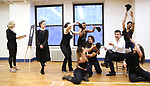 """Dana Costello, Laura Osnes and Tony Yazbeck with cast during a Performance Sneak Peek of The MCP Production of """"The Scarlet Pimpernel"""" at Pearl Rehearsal studio Theatre on February 14, 2019 in New York City."""