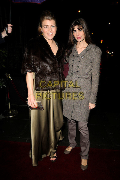 AMBER AIKENS & LISA B.The Cadogan Hotel's 120th anniversary party, 75 Sloane St., London, England..April 15th, 2008.full length black dress fur wrap jacket brown grey gray tweed coat Barbuscia Bilton gold silk satin .CAP/CAN.©Can Nguyen/Capital Pictures.