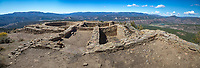 The site was once home to the ancestors of the modern Pueblo Indians, who built more than 200 homes and ceremonial buildings high above the valley floor more than 1,000 years ago. Archaeologists believe that the site marks a connection to the Chacoan society who inhabited Chaco Canyon in northwestern New Mexico.<br /> <br /> The area has 118 known archaeological sites, including the dramatic Great House Pueblo which likely was used as an observatory for the annual summer solstice. Other features include the Great Kiva, which was likely used for religious ceremonies and community activities; storage rooms; and residential pit houses.