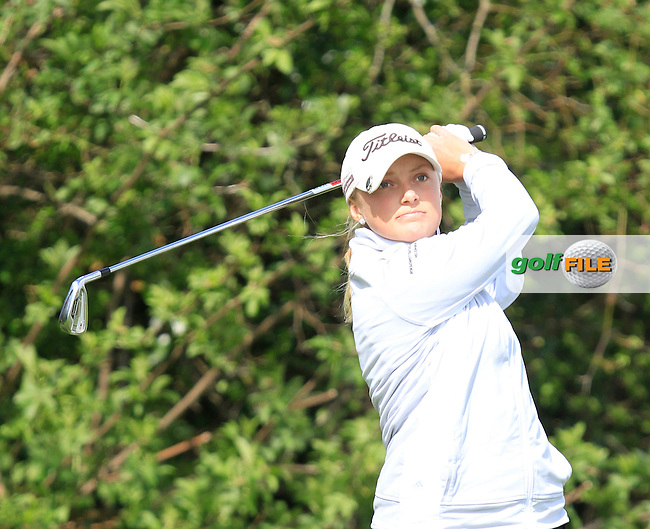 Tilda Green (SWE) on the 9th tee during Round 1 of The Irish Girls Open Strokeplay Championship in Roganstown Golf Club on Sunday 19th April 2015.<br /> Picture:  Thos Caffrey / www.golffile.ie