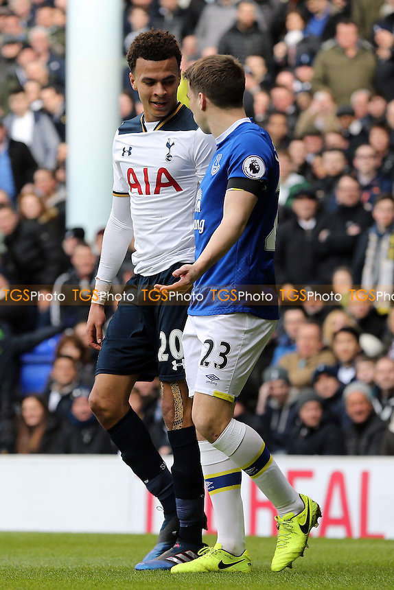 Dele Alli of Tottenham Hotspur and Seamus Coleman of Everton clash during Tottenham Hotspur vs Everton, Premier League Football at White Hart Lane on 5th March 2017