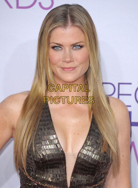 Alison Sweeney.The 2013 People's Choice Awards held at Nokia Live in Los Angeles, California 9th January 2013                                                                   .headshot portrait gold plunging neckline  sleeveless  .CAP/DVS.©DVS/Capital Pictures.
