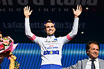 Maximilian Schachmann (GER) Quick-Step Floors retains the young riders Maglia Bianca on the podium at the end of  Stage 4 a 202km very hilly stage running from Catania to Caltagirone, Sicily, Italy. 8th May 2018.<br /> Picture: LaPresse/Gian Mattia D'Alberto | Cyclefile<br /> <br /> <br /> All photos usage must carry mandatory copyright credit (&copy; Cyclefile | LaPresse/Gian Mattia D'Alberto)