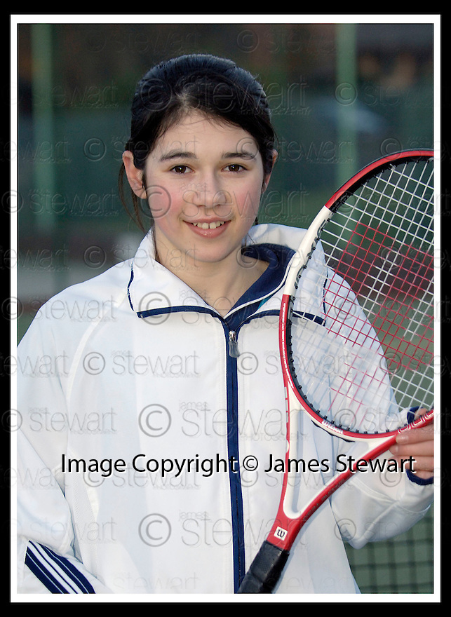 28/02/2006         Copyright Pic: James Stewart.File Name : sct_jspa03_GATER_katie.DUNBLANE TEENAGER, KATIE GATER (14), WHO HOPES TO FOLLOW IN THE FOOTSTEPS OF NEAR NEIGHBOUR ANDREW MURRAY AND PLAY TOP FLIGHT TENNIS... KATIE BECAME THE YOUNGEST SCOTTISH LADIES INDOOR CHAMPION....(see copy from George Mair)....Payments to :.James Stewart Photo Agency 19 Carronlea Drive, Falkirk. FK2 8DN      Vat Reg No. 607 6932 25.Office     : +44 (0)1324 570906     .Mobile   : +44 (0)7721 416997.Fax         : +44 (0)1324 570906.E-mail  :  jim@jspa.co.uk.If you require further information then contact Jim Stewart on any of the numbers above.........