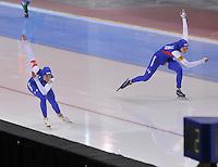 SPEED SKATING: SALT LAKE CITY: 22-11-2015, Utah Olympic Oval, ISU World Cup, 1000m Ladies, Heather Richardson (USA), Brittany Bowe (USA), World Record: 1.12,18, ©foto Martin de Jong