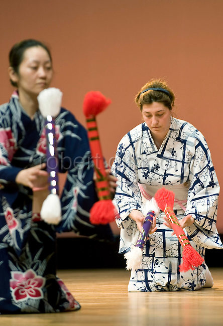 Foriegn geisha Fukutaro from Romania rehearses a dance prior to her debut stage performance at the Genji Ayame festival in Izu-Nagaoka, Shizuoka Prefecture, Japan on 30 June, 2011..Photographer: Robert Gilhooly