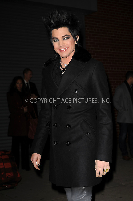 WWW.ACEPIXS.COM . . . . . ....December 8 2009, New York City....Singer Adam Lambert arriving at the launch of VEVO, a new music and video website, at Skylight Studio on December 8, 2009 in New York City.....Please byline: KRISTIN CALLAHAN - ACEPIXS.COM.. . . . . . ..Ace Pictures, Inc:  ..tel: (212) 243 8787 or (646) 769 0430..e-mail: info@acepixs.com..web: http://www.acepixs.com