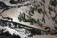 St Vrain River flood. Weld County, Colorado