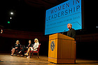 "Sept. 1, 2013; University President Rev. John Jenkins, C.S.C., introduces Anne Thompson, Michele Flournoy,Gen. Ann Dunwoody before their discussion titled ""Getting to the Top at the Pentagon,"" part of the 2013-14 Notre Dame Forum: ""Women in Leadership"" in Leighton Concert Hall at DeBartolo Performing Arts Center. Photo by Barbara Johnston/University of Notre Dame"