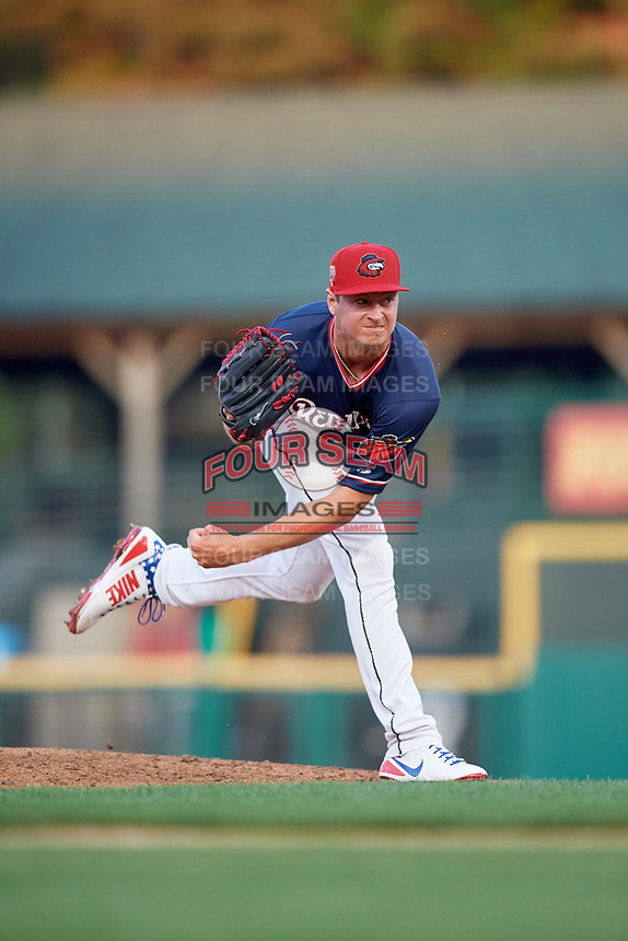Rochester Red Wings starting pitcher Stephen Gonsalves (23) delivers a pitch during a game against the Pawtucket Red Sox on July 4, 2018 at Frontier Field in Rochester, New York.  Pawtucket defeated Rochester 6-5.  (Mike Janes/Four Seam Images)