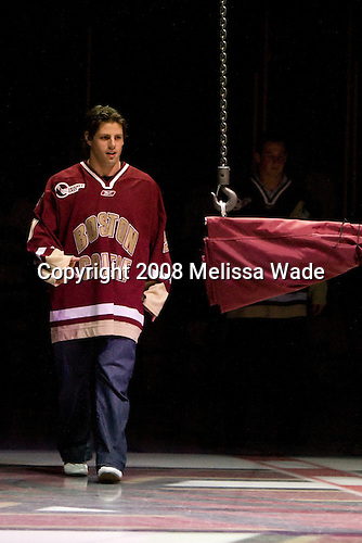 Nate Gerbe (Matt Greene) - The Boston College Eagles defeated the University of Wisconsin Badgers 5-4 on Friday, October 10, 2008 after raising their 2008 National Championship banner at Kelley Rink in Conte Forum in Chestnut Hill, Massachusetts.