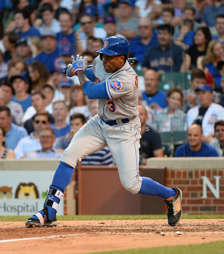 New York Mets Curtis Granderson (3) during a game against the Chicago Cubs on July 18, 2016 at Wrigley Field in Chicago, IL. The Cubs beat the Mets 5-1.