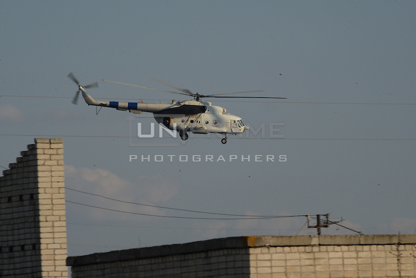 Ukrainian Helicopter seen over the airport of Kramatorsk