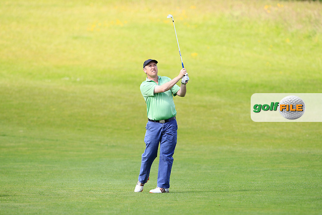 Joe Lyons (Galway) on the 1st fairway during Round 1 of the Irish Mid-Amateur Open Championship at New Forest on Saturday 20th June 2015.<br /> Picture:  Thos Caffrey / www.golffile.ie