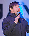 Jonny Moseley talks to the crowd during the Olympic Homecoming  Celebration at Squaw Valley on Friday night, March 21, 2014.