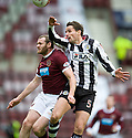 HEARTS' CRAIG BEATTIE AND ST MIRREN'S LEE MAIR CHALLENGE FOR THE BALL