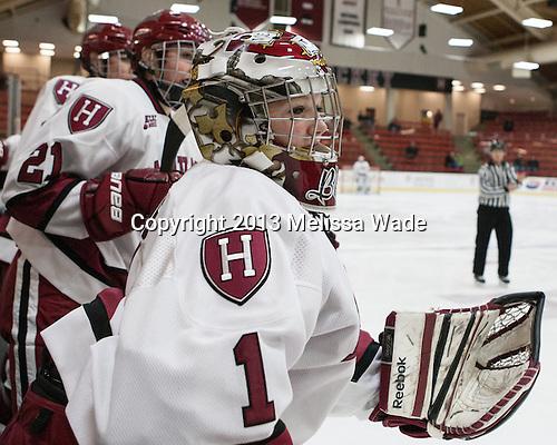 Brianna Laing (Harvard - 1) - The Harvard University Crimson defeated the visiting Boston University Terriers 3-1 on Friday, November 22, 2013, at Bright-Landry Hockey Center in Cambridge, Massachusetts.