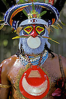 Papua New Guinea, Western Highlands Province, Mt. Hagen Cultural Show, man.