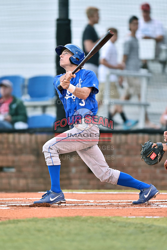 Burlington Royals shortstop Brian Bien (3) swings at a pitch during a game against the  Johnson City Cardinals on June 27, 2015 in Johnson City, Tennessee. The Cardinals defeated the Royals 8-7. (Tony Farlow/Four Seam Images)