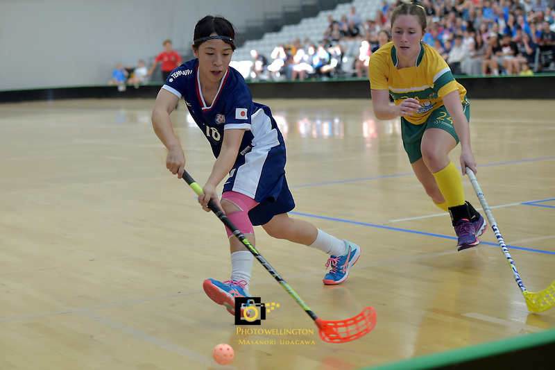 Japan's Hitomi Sugaya in action during the World Floorball Championships 2017 Qualification for Asia Oceania Region Final - Australia v Japan at ASB Sports Centre , Wellington, New Zealand on Sunday 5 February 2017.<br /> Photo by Masanori Udagawa<br /> www.photowellington.photoshelter.com.