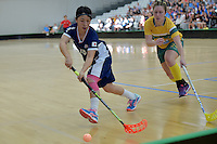 Japan&rsquo;s Hitomi Sugaya in action during the World Floorball Championships 2017 Qualification for Asia Oceania Region Final - Australia v Japan at ASB Sports Centre , Wellington, New Zealand on Sunday 5 February 2017.<br /> Photo by Masanori Udagawa<br /> www.photowellington.photoshelter.com.