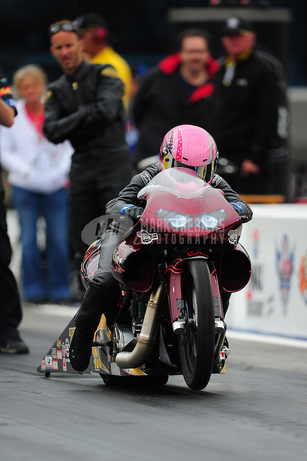 Sept. 16, 2011; Concord, NC, USA: NHRA pro stock motorcycle rider Angie Smith during qualifying for the O'Reilly Auto Parts Nationals at zMax Dragway. Mandatory Credit: Mark J. Rebilas-US PRESSWIRE