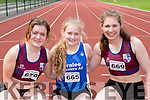 Maria O'Neill Listowel, Rachel Bowler Tralee Harriers and Niamh Cullen Listowel at the Kerry Senior Track and Field Championships in Castleisland on sunday