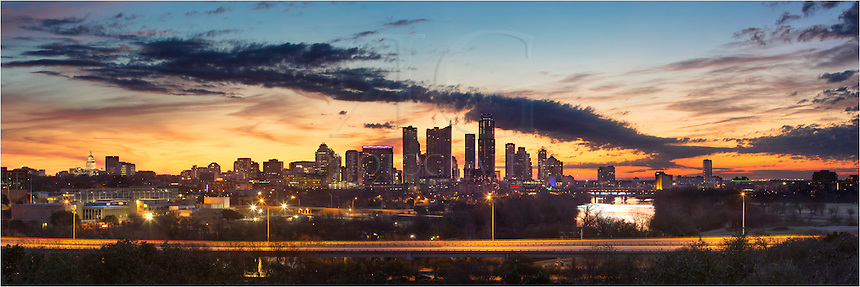 This is not a bad place to spend a Sunday morning sunrise in Austin, Texas. This panorama shows the skyline and Lady Bird Lake on a crisp February morning and the sun begins to color the sky.