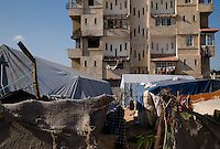 Al Tuam, Gaza Strip, 20 Nov 2009.Inhabitants still live in tents and sheds, almost a year after the Israeli 'Cast Lead' operation, fierce fighting between the Israeli army and Hamas took place in this elevated area just north of Gaza city..