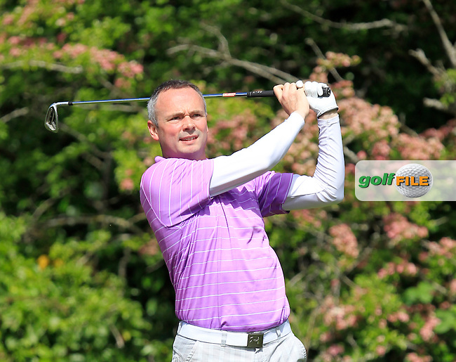 Ger Cohen (Beaverstown) on the 2nd tee during Round 1 of the Irish Mid-Amateur Open Championship at New Forest on Saturday 20th June 2015.<br /> Picture:  Thos Caffrey / www.golffile.ie
