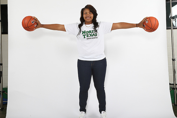 DENTON, TX - OCTOBER 2: North Texas women's basketball marketing photo of Alexis Hyder #33 at he North Texas Coliseum in Denton on October 2, 2013 in Denton, Texas. Photo by Rick Yeatts