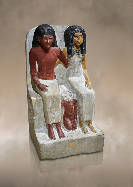 Ancient Egyptian statue of Pawer and his wife Mut, New Kingdom, 18th Dynasty, (1480-1390 BC), Thebes Necropolis. Egyptian Museum, Turin. Drovetti collection. Cat 3057.<br /> <br /> Between the two adults is their son Samut in childhood nudity. The text specifies that the statue was commissioned by Mut.