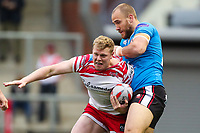 Picture by Alex Whitehead/SWpix.com - 11/05/2018 - Rugby League - Ladbrokes Challenge Cup - Leigh Centurions v Salford Red Devils - Leigh Sports Village, Leigh, England - Leigh's Drew Hutchison is tackled by Salford's Lee Mossop.